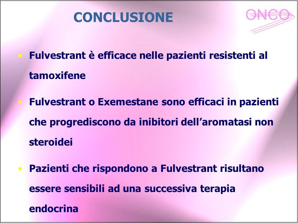 ONCO Fulvestrant è efficace nelle pazienti resistenti al tamoxifene Fulvestrant o Exemestane sono efficaci in pazienti che progrediscono da inibitori