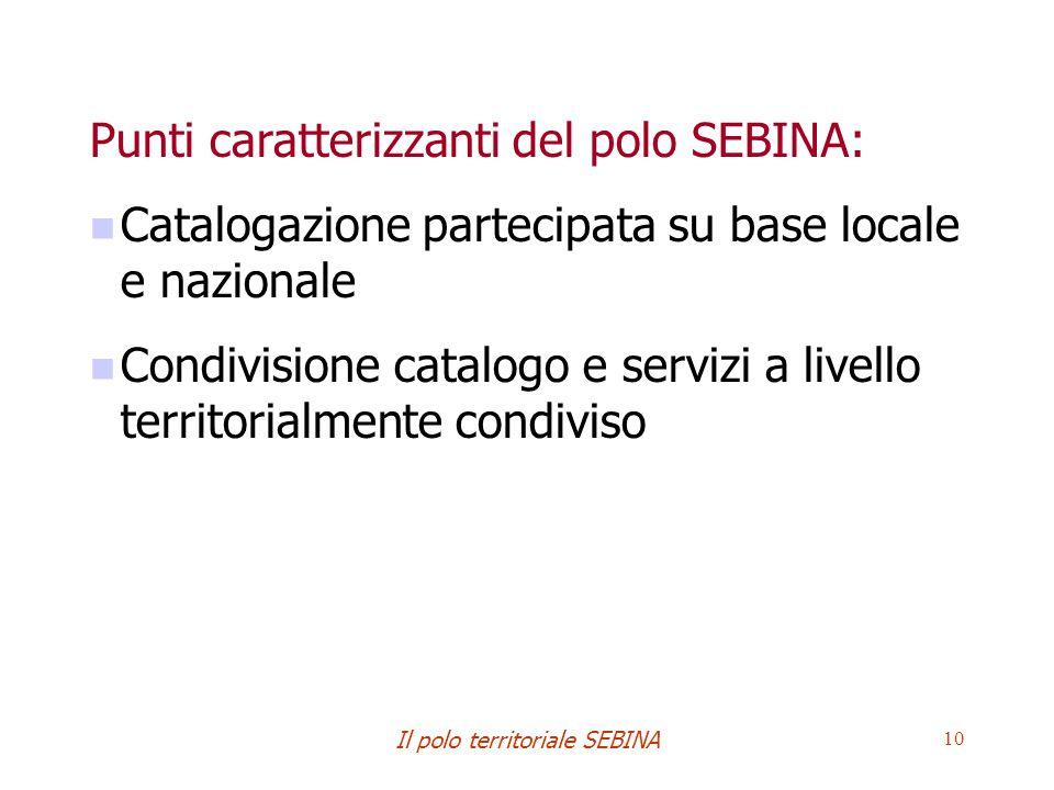 Il polo territoriale SEBINA 10 Punti caratterizzanti del polo SEBINA: Catalogazione partecipata su base locale e nazionale Condivisione catalogo e servizi a livello territorialmente condiviso