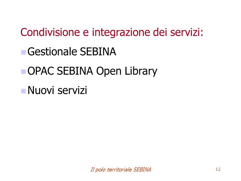 Il polo territoriale SEBINA 12 Condivisione e integrazione dei servizi: Gestionale SEBINA OPAC SEBINA Open Library Nuovi servizi