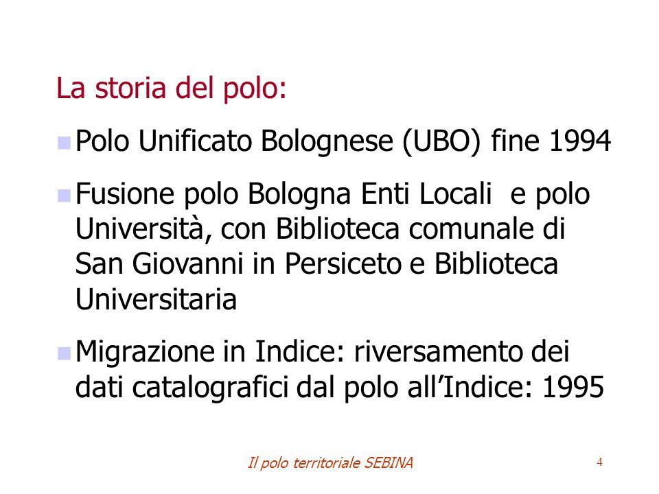 Il polo territoriale SEBINA 4 La storia del polo: Polo Unificato Bolognese (UBO) fine 1994 Fusione polo Bologna Enti Locali e polo Università, con Bib
