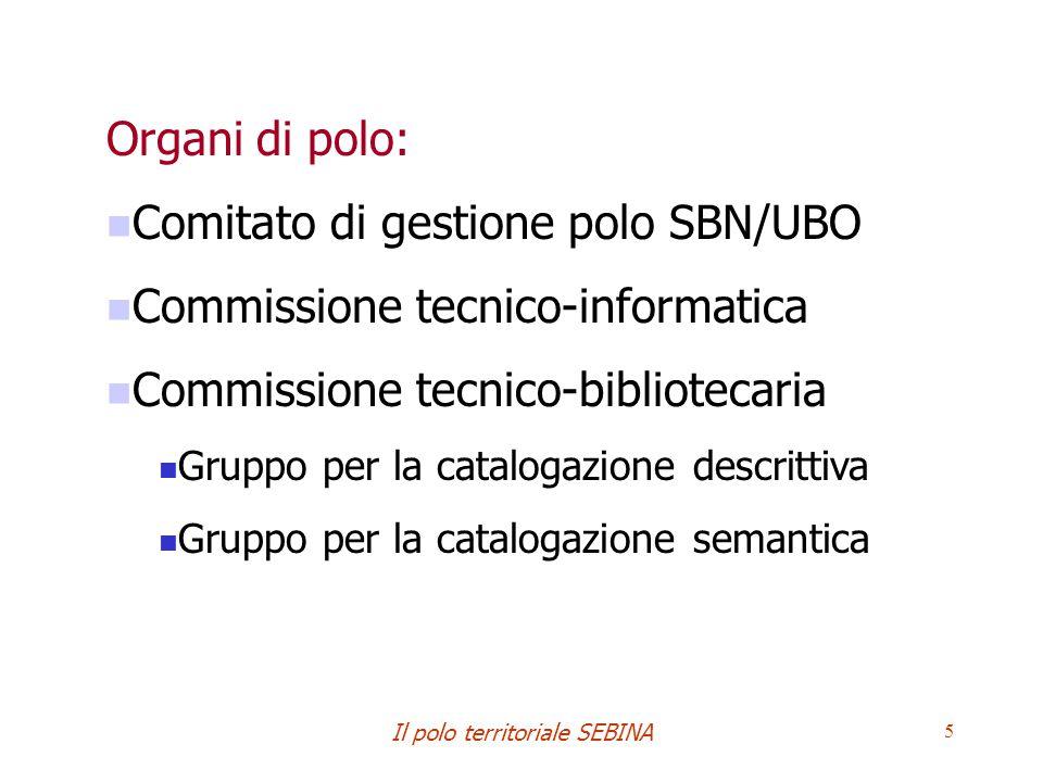 Il polo territoriale SEBINA 5 Organi di polo: Comitato di gestione polo SBN/UBO Commissione tecnico-informatica Commissione tecnico-bibliotecaria Gruppo per la catalogazione descrittiva Gruppo per la catalogazione semantica
