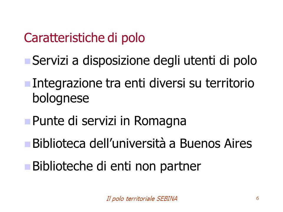 Il polo territoriale SEBINA 6 Caratteristiche di polo Servizi a disposizione degli utenti di polo Integrazione tra enti diversi su territorio bolognes