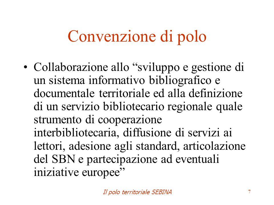 Il polo territoriale SEBINA 8 Regolamento di polo http://www.sba.unibo.it/sba/fonti- normative/regolamento-prestito-polo