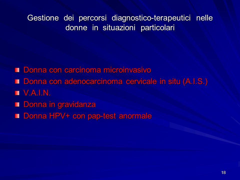 19 Donna con carcinoma microinvasivo IA1 – IA2 Nel caso di diagnosi sul cono di stadio IA1, con margini liberi, in paziente desiderosa di prole e che accettino consapevolmente il f.u., si deve ritenere la conizzazione come trattamento definitivo In alternativa può essere consigliata l'isterectomia semplice In tutti gli altri casi (peri-menopausa, menopausa, assenza di desiderio di prole) può essere indicata l'isterctomia anche allo stadio IA1 L'interessamento degli spazi linfo-vascolari non cambia lo stadio ma va segnalato Per quanto riguarda l'approccio terapeutico allo stadio IA2 non sono ancora stati definiti indirizzi standardizzati I dati più recenti sembrano indicare che l'approccio più corretto sarebbe l'isterectomia con linfoadenectomia pelvica In questi casi l'isterectomia radicale viene considerata come sovratrattamento