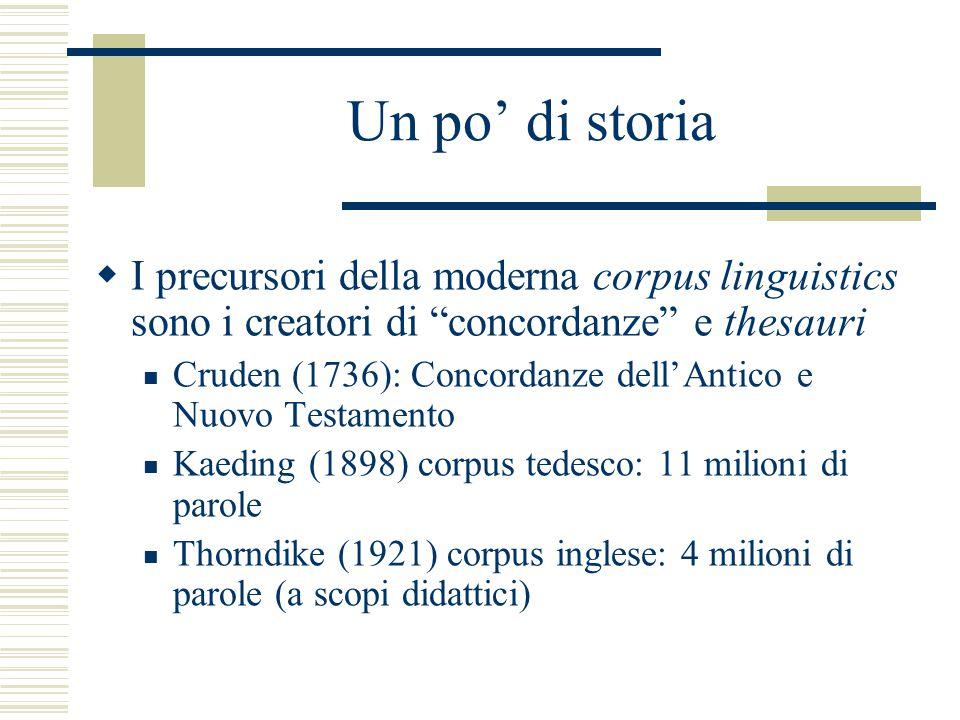 Un po' di storia  I precursori della moderna corpus linguistics sono i creatori di concordanze e thesauri Cruden (1736): Concordanze dell'Antico e Nuovo Testamento Kaeding (1898) corpus tedesco: 11 milioni di parole Thorndike (1921) corpus inglese: 4 milioni di parole (a scopi didattici)