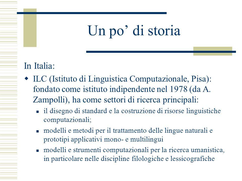 Un po' di storia In Italia:  ILC (Istituto di Linguistica Computazionale, Pisa): fondato come istituto indipendente nel 1978 (da A.