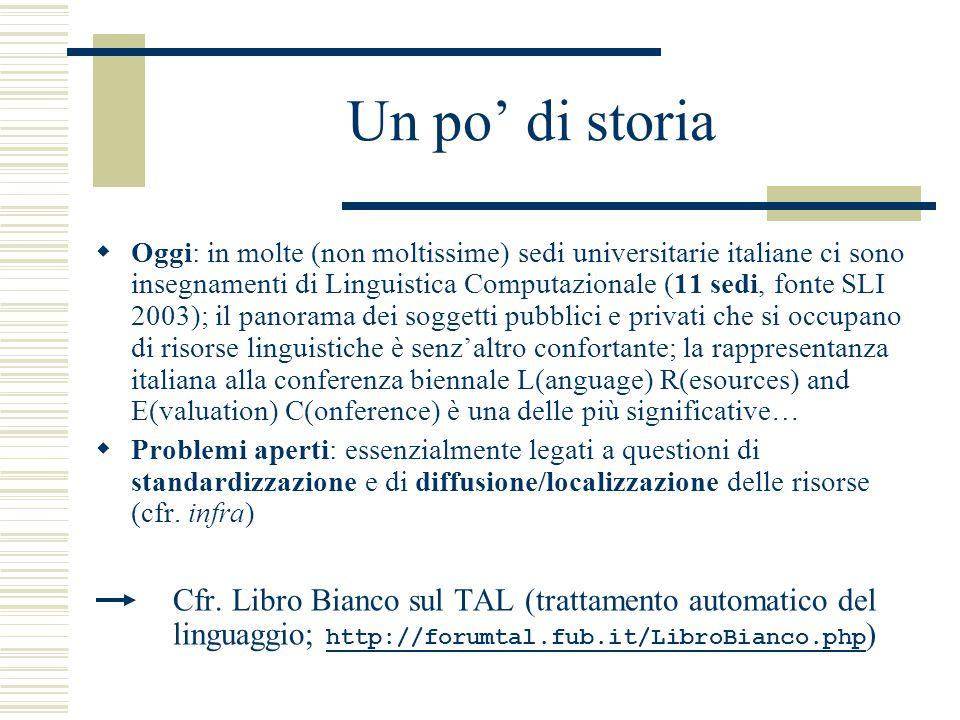 Un po' di storia  Oggi: in molte (non moltissime) sedi universitarie italiane ci sono insegnamenti di Linguistica Computazionale (11 sedi, fonte SLI 2003); il panorama dei soggetti pubblici e privati che si occupano di risorse linguistiche è senz'altro confortante; la rappresentanza italiana alla conferenza biennale L(anguage) R(esources) and E(valuation) C(onference) è una delle più significative…  Problemi aperti: essenzialmente legati a questioni di standardizzazione e di diffusione/localizzazione delle risorse (cfr.