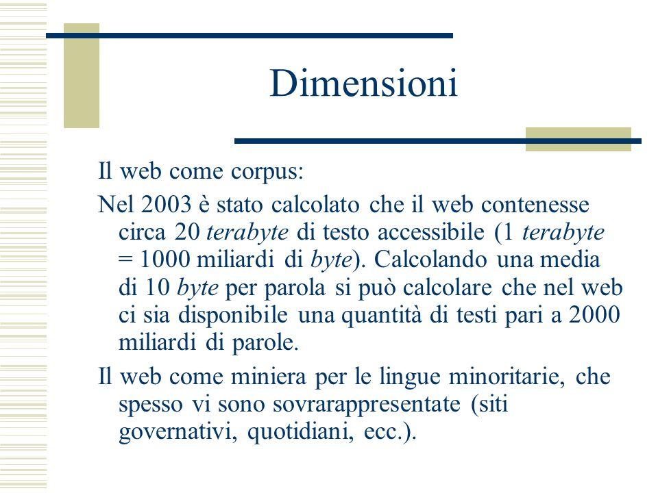 Dimensioni Il web come corpus: Nel 2003 è stato calcolato che il web contenesse circa 20 terabyte di testo accessibile (1 terabyte = 1000 miliardi di byte).