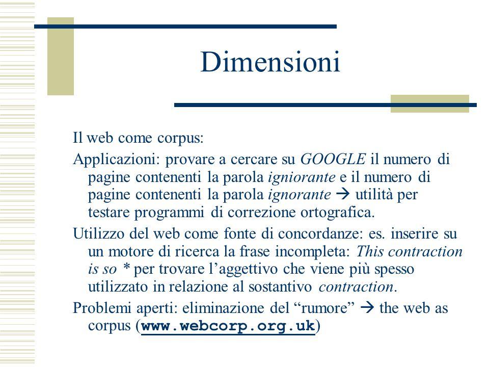 Dimensioni Il web come corpus: Applicazioni: provare a cercare su GOOGLE il numero di pagine contenenti la parola igniorante e il numero di pagine contenenti la parola ignorante  utilità per testare programmi di correzione ortografica.