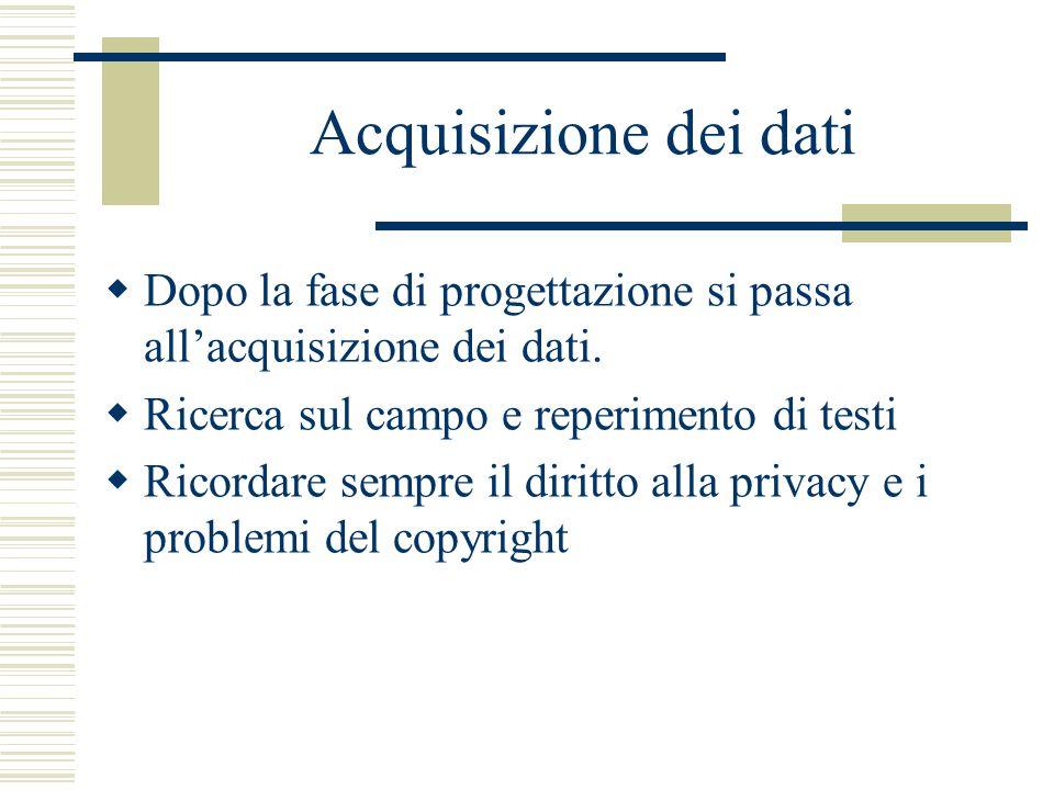 Acquisizione dei dati  Dopo la fase di progettazione si passa all'acquisizione dei dati.