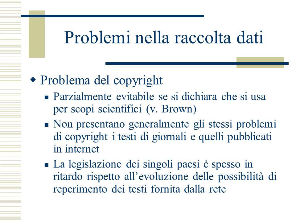 Problemi nella raccolta dati  Problema del copyright Parzialmente evitabile se si dichiara che si usa per scopi scientifici (v.