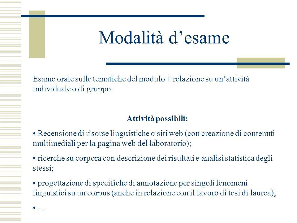 Modalità d'esame Esame orale sulle tematiche del modulo + relazione su un'attività individuale o di gruppo.