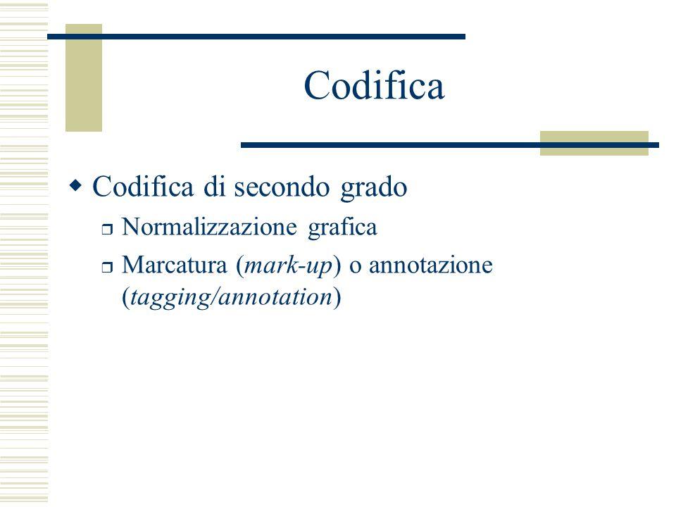 Codifica  Codifica di secondo grado r Normalizzazione grafica r Marcatura (mark-up) o annotazione (tagging/annotation)