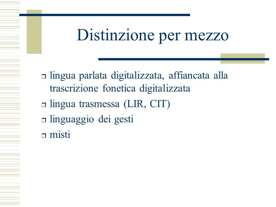 Distinzione per mezzo r lingua parlata digitalizzata, affiancata alla trascrizione fonetica digitalizzata r lingua trasmessa (LIR, CIT) r linguaggio dei gesti r misti