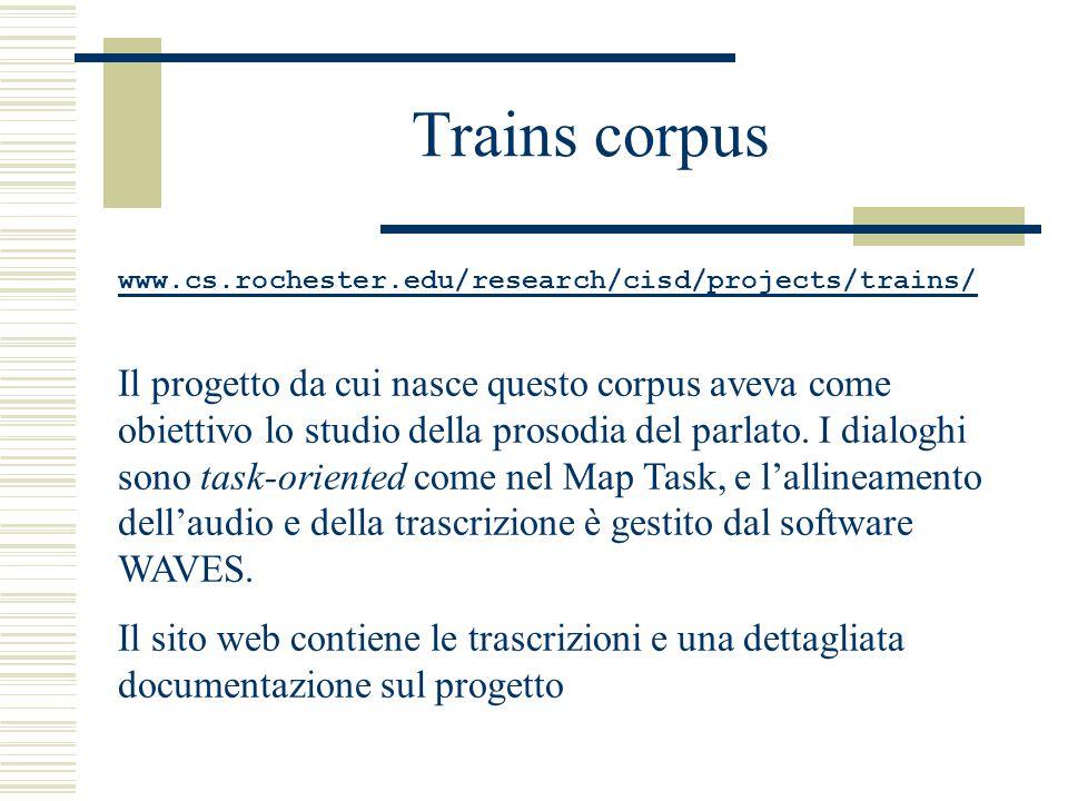 Trains corpus www.cs.rochester.edu/research/cisd/projects/trains/ Il progetto da cui nasce questo corpus aveva come obiettivo lo studio della prosodia del parlato.