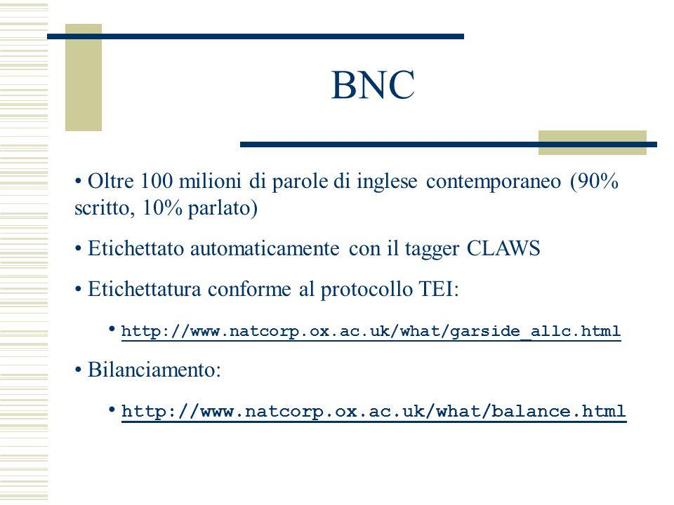 BNC Oltre 100 milioni di parole di inglese contemporaneo (90% scritto, 10% parlato) Etichettato automaticamente con il tagger CLAWS Etichettatura conforme al protocollo TEI: http://www.natcorp.ox.ac.uk/what/garside_allc.html Bilanciamento: http://www.natcorp.ox.ac.uk/what/balance.html