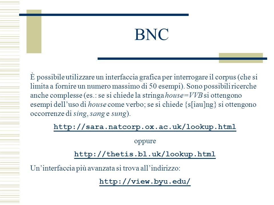 BNC È possibile utilizzare un interfaccia grafica per interrogare il corpus (che si limita a fornire un numero massimo di 50 esempi).