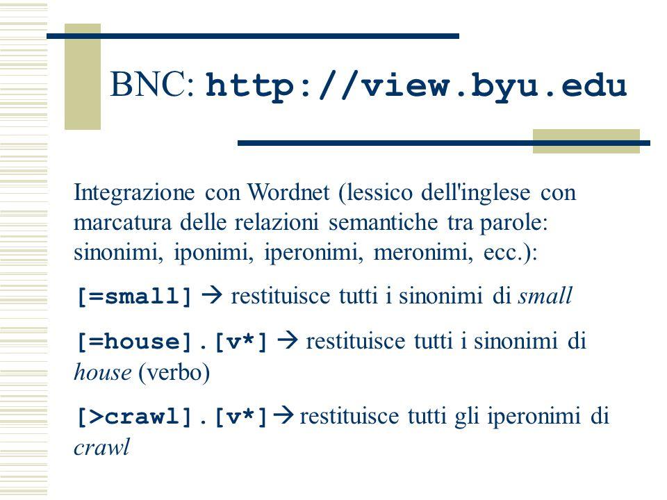 BNC: http://view.byu.edu Integrazione con Wordnet (lessico dell inglese con marcatura delle relazioni semantiche tra parole: sinonimi, iponimi, iperonimi, meronimi, ecc.): [=small]  restituisce tutti i sinonimi di small [=house].[v*]  restituisce tutti i sinonimi di house (verbo) [>crawl].[v*]  restituisce tutti gli iperonimi di crawl
