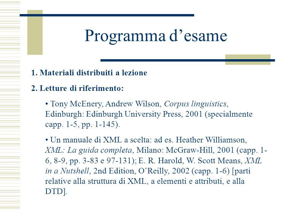 Programma d'esame 1. Materiali distribuiti a lezione 2.