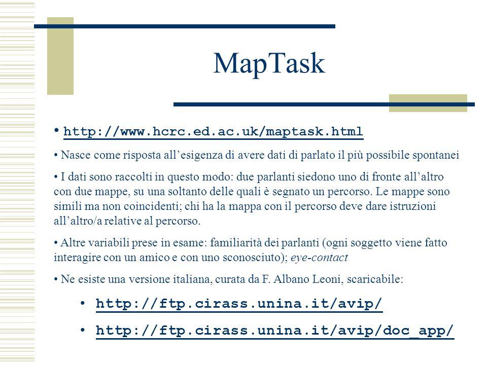 MapTask http://www.hcrc.ed.ac.uk/maptask.html Nasce come risposta all'esigenza di avere dati di parlato il più possibile spontanei I dati sono raccolti in questo modo: due parlanti siedono uno di fronte all'altro con due mappe, su una soltanto delle quali è segnato un percorso.