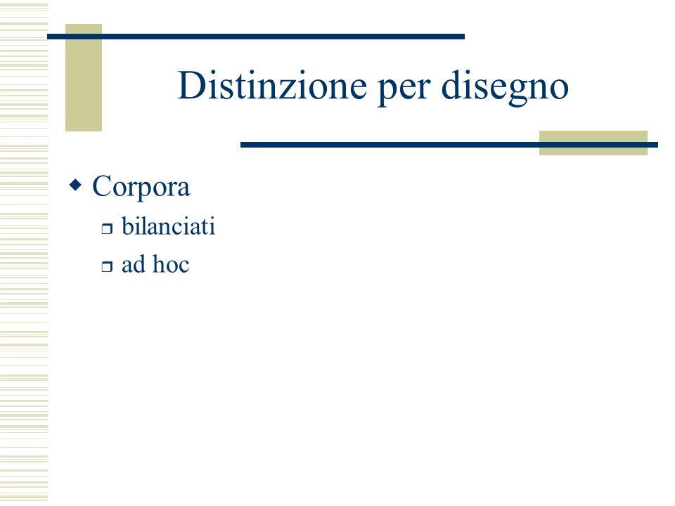 Distinzione per disegno  Corpora r bilanciati r ad hoc