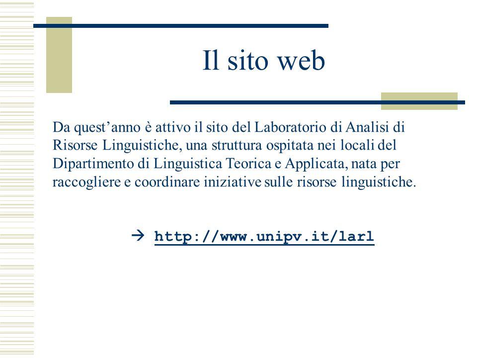 Il sito web Da quest'anno è attivo il sito del Laboratorio di Analisi di Risorse Linguistiche, una struttura ospitata nei locali del Dipartimento di Linguistica Teorica e Applicata, nata per raccogliere e coordinare iniziative sulle risorse linguistiche.