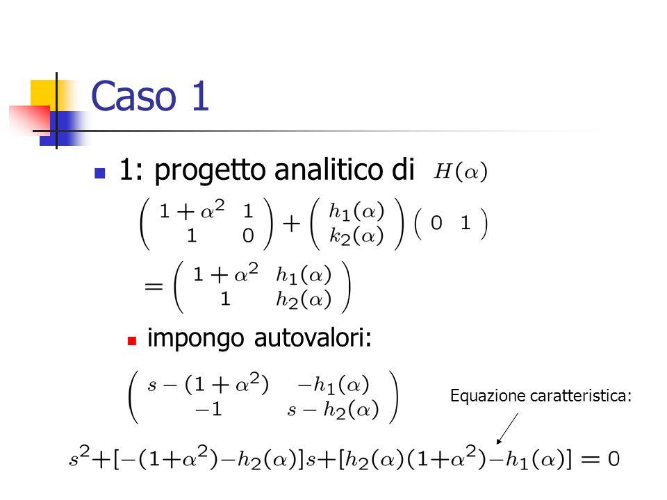 Caso 1 Equazione caratteristica: 1: progetto analitico di impongo autovalori:
