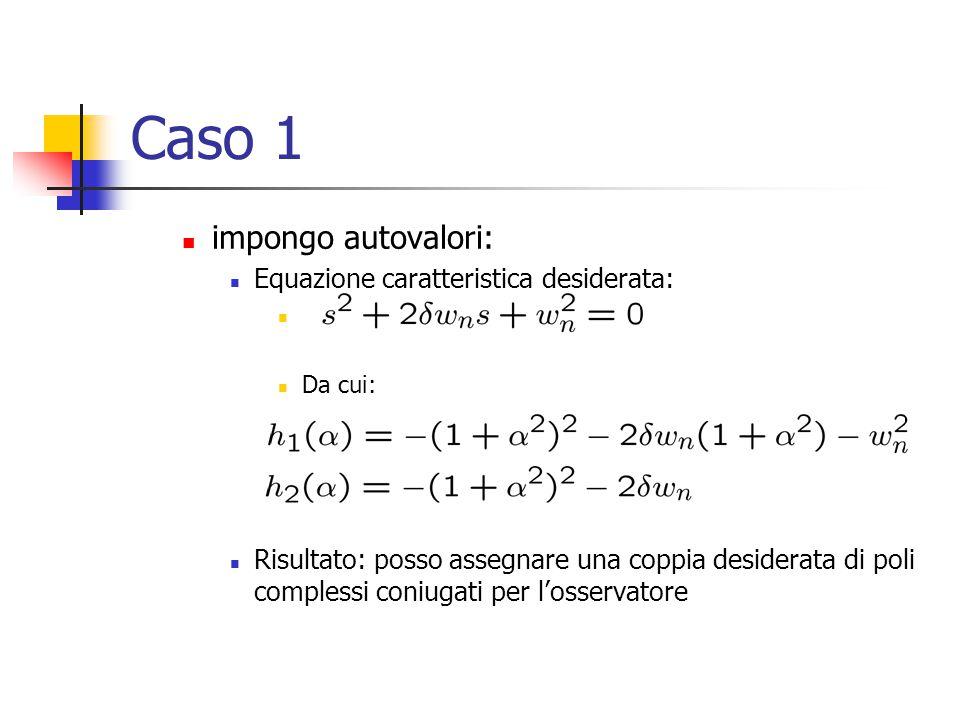 Caso 1 impongo autovalori: Equazione caratteristica desiderata: Da cui: Risultato: posso assegnare una coppia desiderata di poli complessi coniugati p