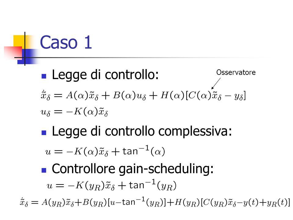 Caso 1 Legge di controllo: Legge di controllo complessiva: Controllore gain-scheduling: Osservatore