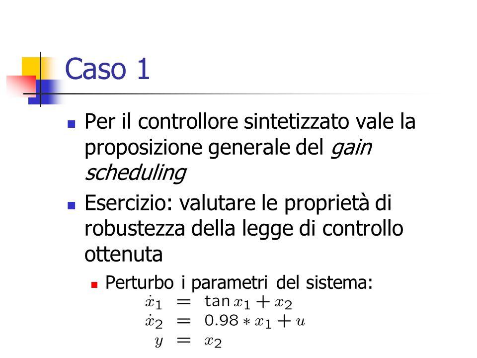 Caso 1 Per il controllore sintetizzato vale la proposizione generale del gain scheduling Esercizio: valutare le proprietà di robustezza della legge di