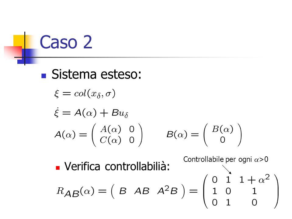 Caso 2 Sistema esteso: Verifica controllabilià: Controllabile per ogni  >0