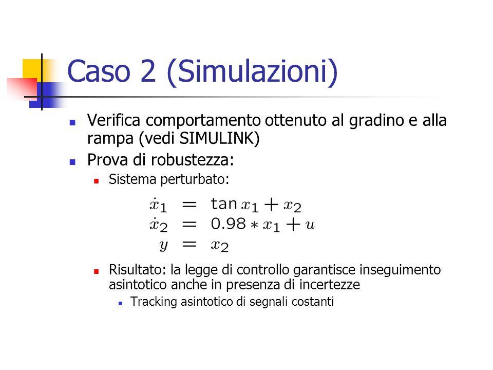Caso 2 (Simulazioni) Verifica comportamento ottenuto al gradino e alla rampa (vedi SIMULINK) Prova di robustezza: Sistema perturbato: Risultato: la le