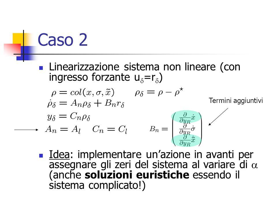 Caso 2 Linearizzazione sistema non lineare (con ingresso forzante u  =r  ) Idea: implementare un'azione in avanti per assegnare gli zeri del sistema