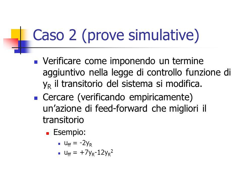 Caso 2 (prove simulative) Verificare come imponendo un termine aggiuntivo nella legge di controllo funzione di y R il transitorio del sistema si modif