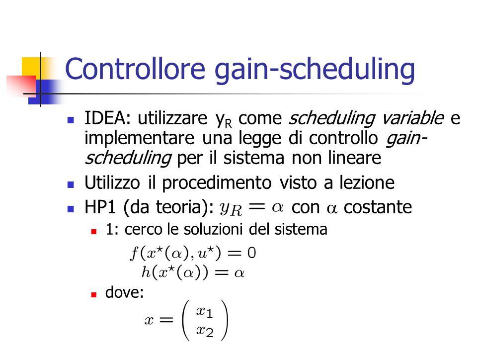 Controllore gain-scheduling IDEA: utilizzare y R come scheduling variable e implementare una legge di controllo gain- scheduling per il sistema non li
