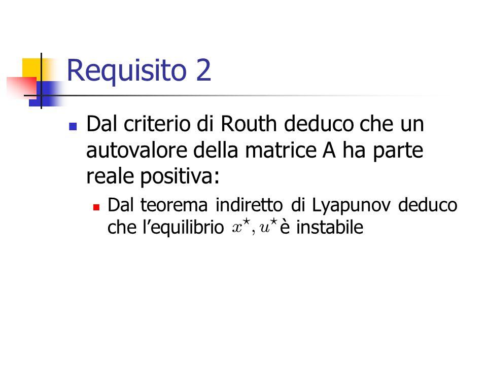 Requisito 2 Dal criterio di Routh deduco che un autovalore della matrice A ha parte reale positiva: Dal teorema indiretto di Lyapunov deduco che l'equ