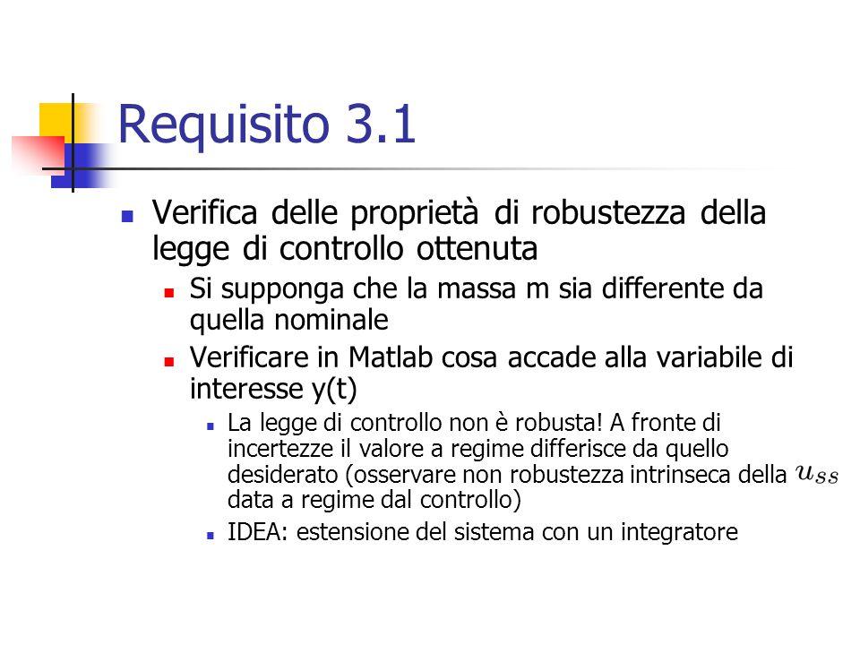 Requisito 3.1 Verifica delle proprietà di robustezza della legge di controllo ottenuta Si supponga che la massa m sia differente da quella nominale Ve