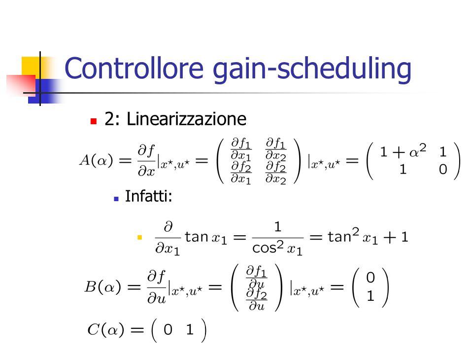 Controllore gain-scheduling 2: Linearizzazione Infatti: