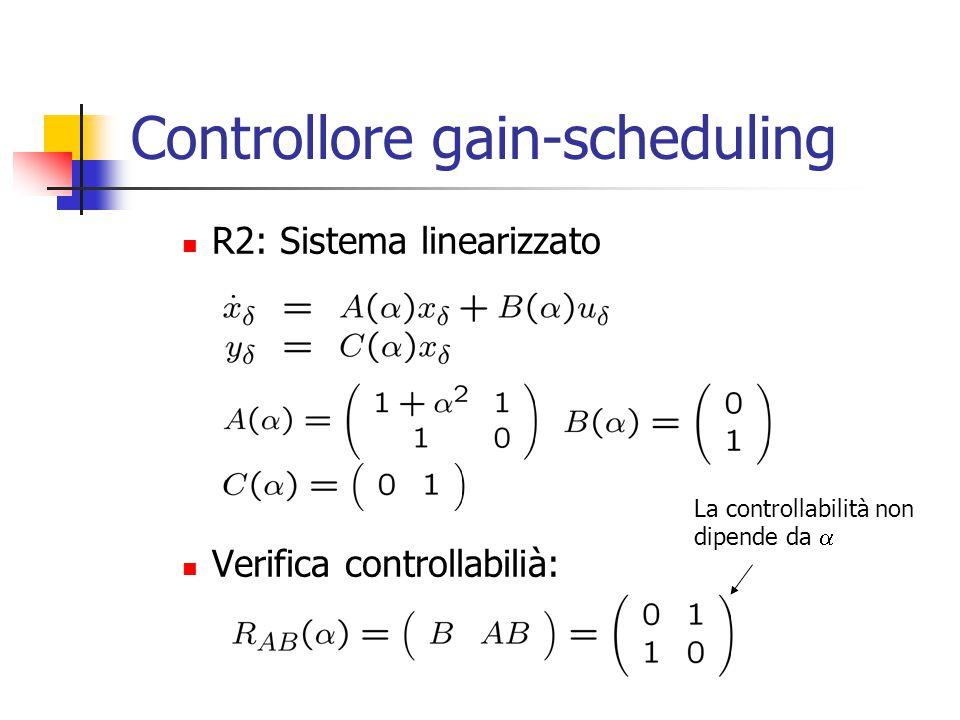 Controllore gain-scheduling R2: Sistema linearizzato Verifica controllabilià: La controllabilità non dipende da 