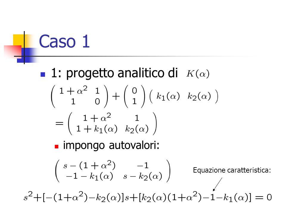 Caso 1 1: progetto analitico di impongo autovalori: Equazione caratteristica: