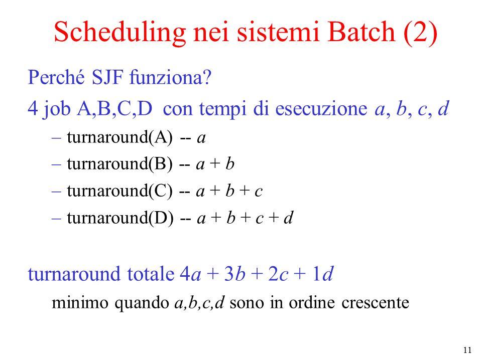 11 Scheduling nei sistemi Batch (2) Perché SJF funziona.
