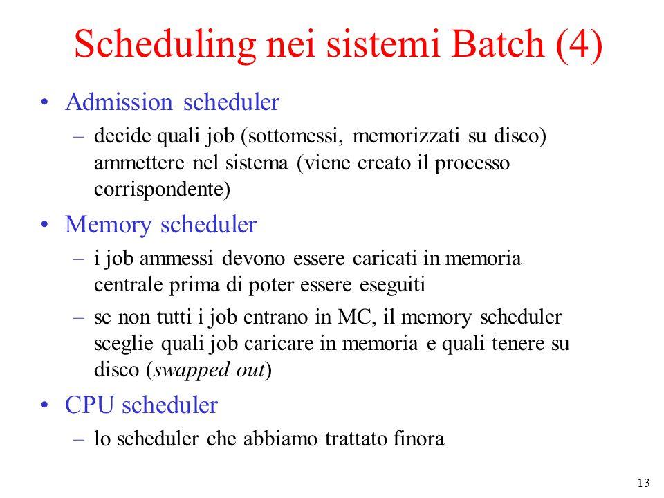 13 Scheduling nei sistemi Batch (4) Admission scheduler –decide quali job (sottomessi, memorizzati su disco) ammettere nel sistema (viene creato il processo corrispondente) Memory scheduler –i job ammessi devono essere caricati in memoria centrale prima di poter essere eseguiti –se non tutti i job entrano in MC, il memory scheduler sceglie quali job caricare in memoria e quali tenere su disco (swapped out) CPU scheduler –lo scheduler che abbiamo trattato finora