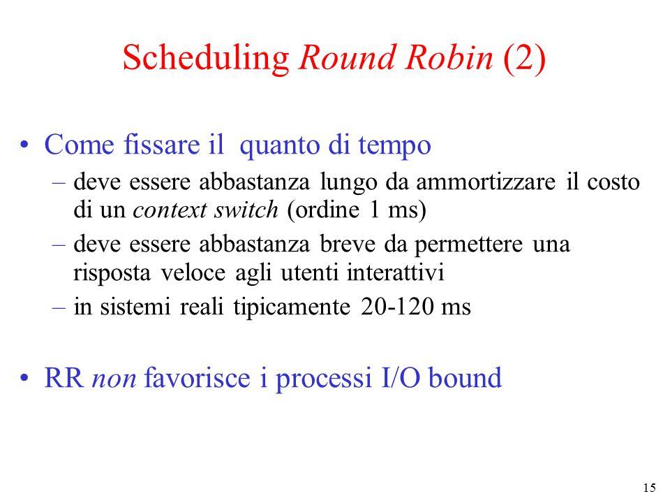 15 Scheduling Round Robin (2) Come fissare il quanto di tempo –deve essere abbastanza lungo da ammortizzare il costo di un context switch (ordine 1 ms) –deve essere abbastanza breve da permettere una risposta veloce agli utenti interattivi –in sistemi reali tipicamente 20-120 ms RR non favorisce i processi I/O bound