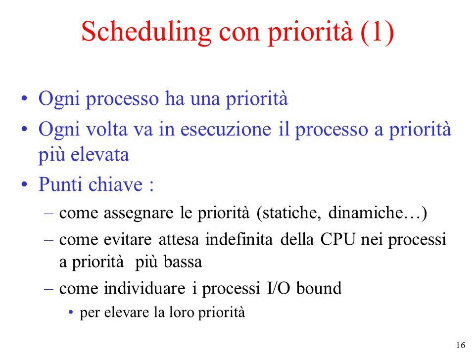 16 Scheduling con priorità (1) Ogni processo ha una priorità Ogni volta va in esecuzione il processo a priorità più elevata Punti chiave : –come assegnare le priorità (statiche, dinamiche…) –come evitare attesa indefinita della CPU nei processi a priorità più bassa –come individuare i processi I/O bound per elevare la loro priorità