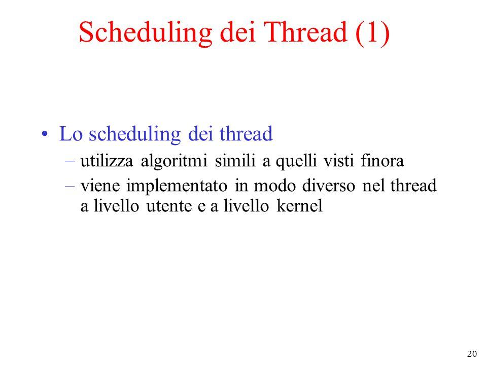 20 Scheduling dei Thread (1) Lo scheduling dei thread –utilizza algoritmi simili a quelli visti finora –viene implementato in modo diverso nel thread a livello utente e a livello kernel