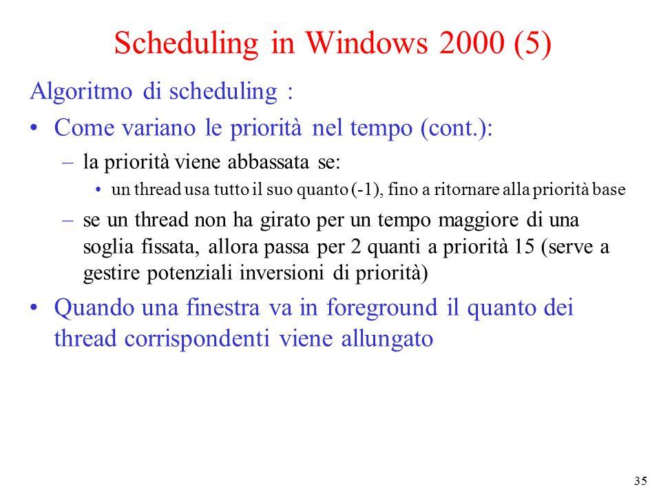 35 Scheduling in Windows 2000 (5) Algoritmo di scheduling : Come variano le priorità nel tempo (cont.): –la priorità viene abbassata se: un thread usa tutto il suo quanto (-1), fino a ritornare alla priorità base –se un thread non ha girato per un tempo maggiore di una soglia fissata, allora passa per 2 quanti a priorità 15 (serve a gestire potenziali inversioni di priorità) Quando una finestra va in foreground il quanto dei thread corrispondenti viene allungato
