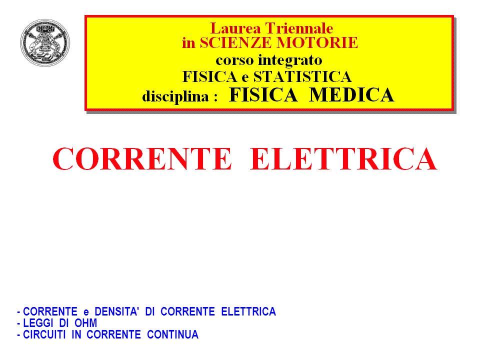 - CORRENTE e DENSITA' DI CORRENTE ELETTRICA - LEGGI DI OHM - CIRCUITI IN CORRENTE CONTINUA