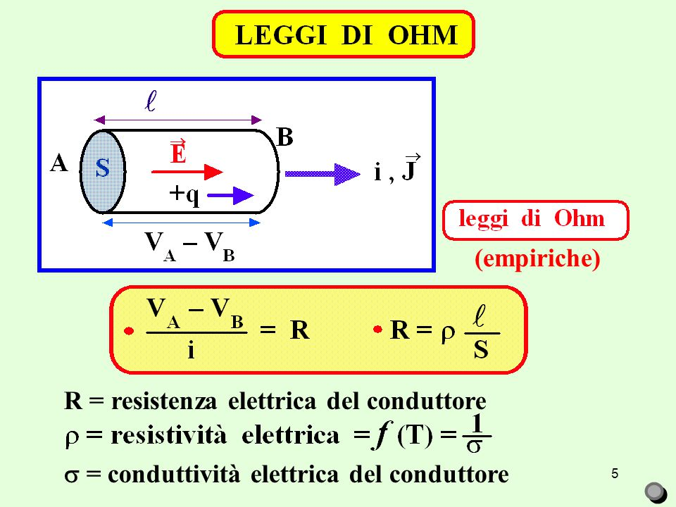 5 R = resistenza elettrica del conduttore  = conduttività elettrica del conduttore (empiriche)