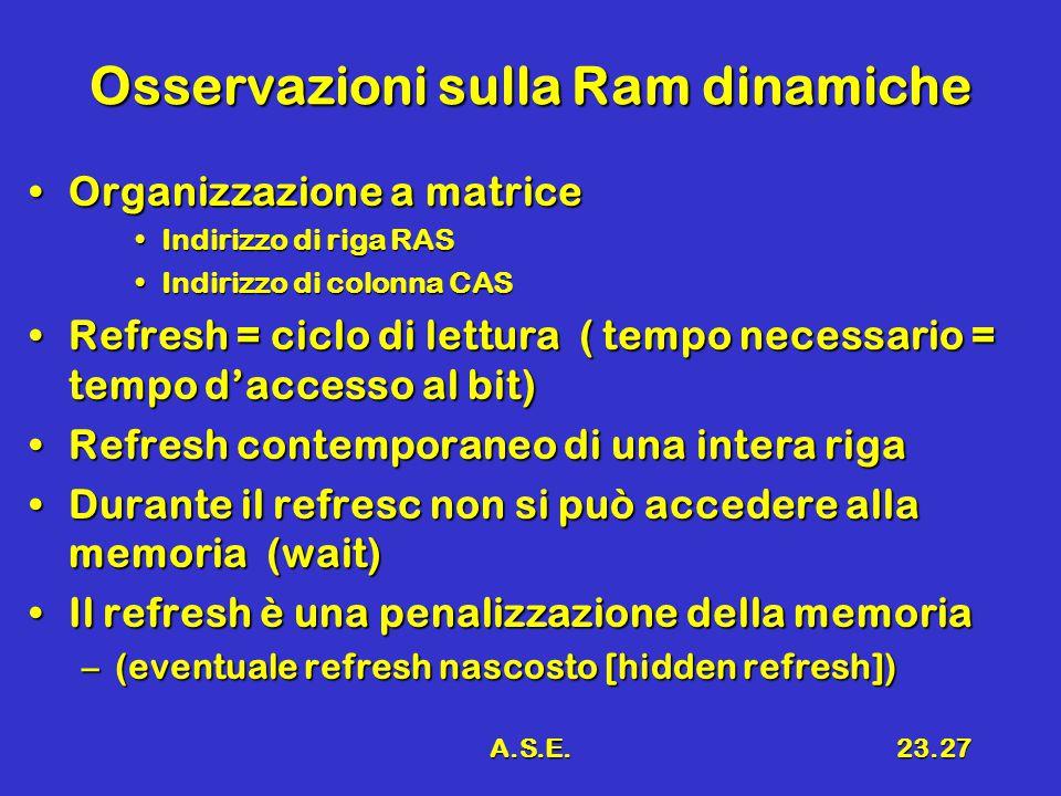 A.S.E.23.27 Osservazioni sulla Ram dinamiche Organizzazione a matriceOrganizzazione a matrice Indirizzo di riga RASIndirizzo di riga RAS Indirizzo di colonna CASIndirizzo di colonna CAS Refresh = ciclo di lettura ( tempo necessario = tempo d'accesso al bit)Refresh = ciclo di lettura ( tempo necessario = tempo d'accesso al bit) Refresh contemporaneo di una intera rigaRefresh contemporaneo di una intera riga Durante il refresc non si può accedere alla memoria (wait)Durante il refresc non si può accedere alla memoria (wait) Il refresh è una penalizzazione della memoriaIl refresh è una penalizzazione della memoria –(eventuale refresh nascosto [hidden refresh])
