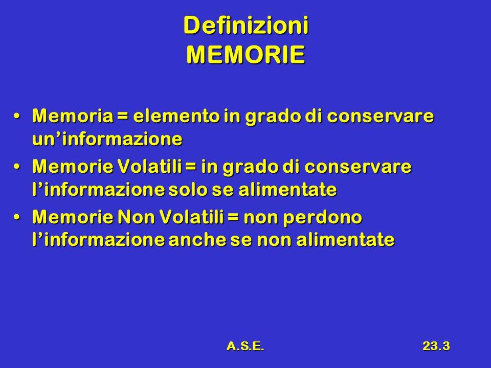 A.S.E.23.3 Definizioni MEMORIE Memoria = elemento in grado di conservare un'informazioneMemoria = elemento in grado di conservare un'informazione Memorie Volatili = in grado di conservare l'informazione solo se alimentateMemorie Volatili = in grado di conservare l'informazione solo se alimentate Memorie Non Volatili = non perdono l'informazione anche se non alimentateMemorie Non Volatili = non perdono l'informazione anche se non alimentate
